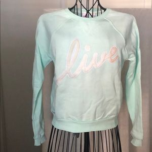 Lacoste L!VE Mint Green Cropped Sweatshirt
